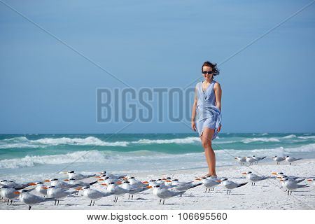 Young woman on Siesta Key beach, Florida