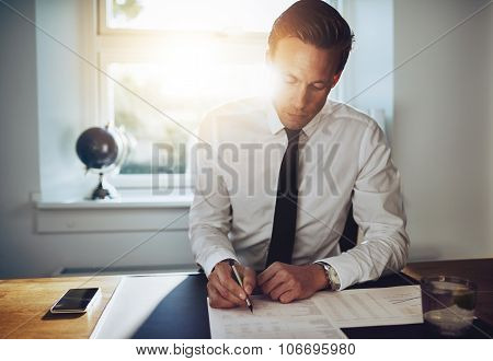 White Business Man Signing A Contract