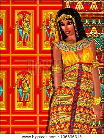Egyptian woman adorned with gold jewelry.