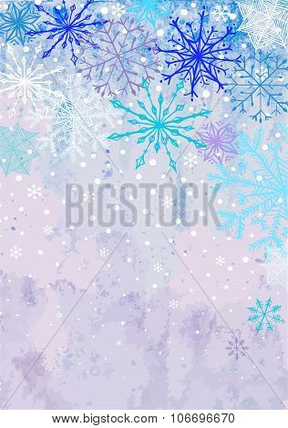 Vertical winter snowstorm background