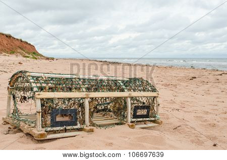 Lobster trap on the beach