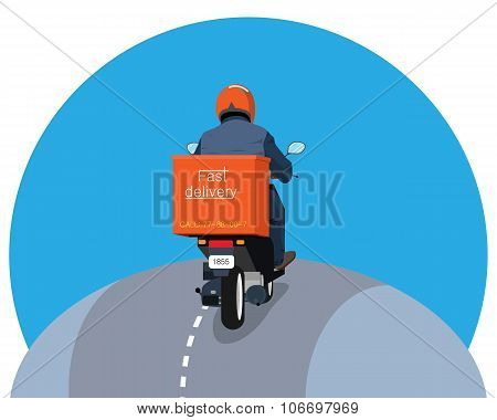 Courier rides a scooter and takes delivery on a white background. Vector illustration