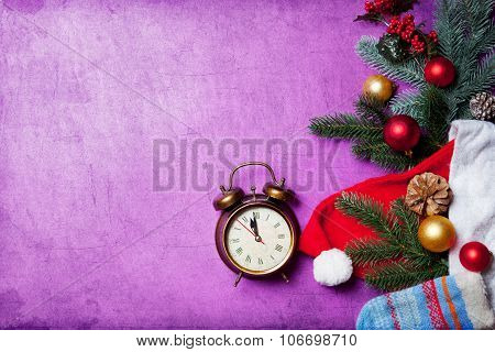 Alarm Clock On Christmas Background