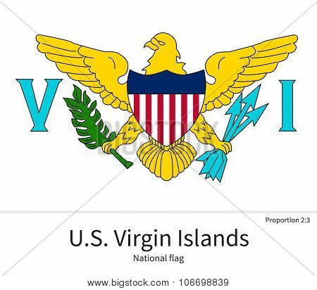 National flag of US Virgin Islands with correct proportions, element, colors