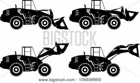 Set of silhouette wheel loaders isolated on white background. Heavy construction machines. Vector il