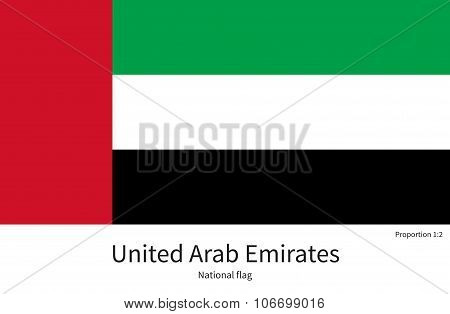 National flag of United Arab Emirates with correct proportions, element, colors