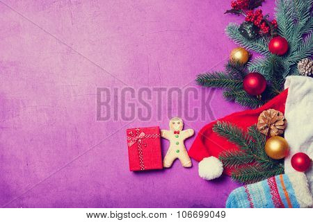 Christmas Gift And Gingerbread Man