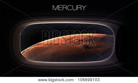 Mercury - Beauty of solar system planet in spaceship window porthole. Elements of this image furnish