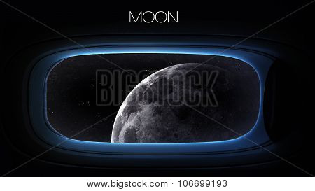 Moon - Beauty of solar system planet in spaceship window porthole. Elements of this image furnished