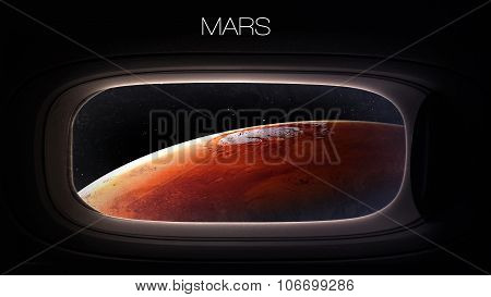 Mars - Beauty of solar system planet in spaceship window porthole. Elements of this image furnished