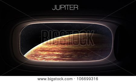 Jupiter - Beauty of solar system planet in spaceship window porthole. Elements of this image furnish