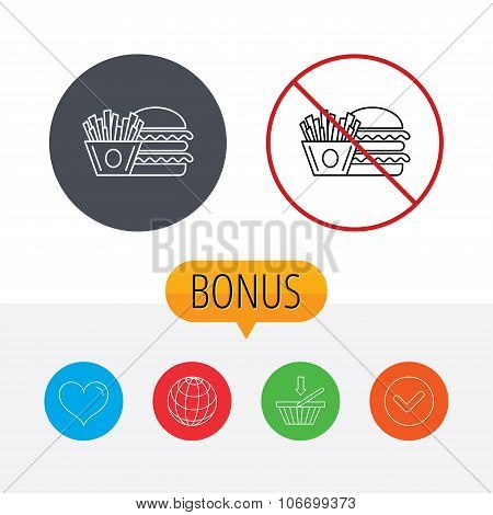 Burger and fries icon. Chips, sandwich sign.