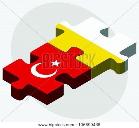 Turkey And Holy See - Vatican City State Flags