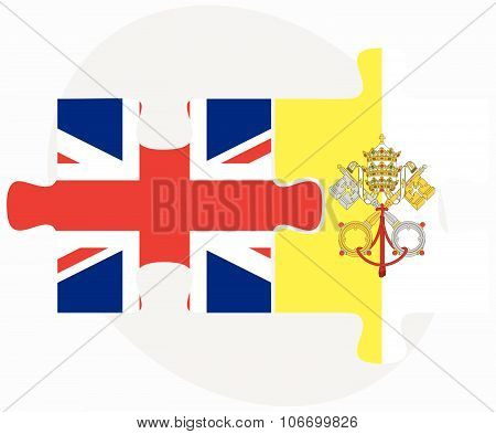 United Kingdom And Holy See - Vatican City State Flags