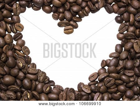 Background Of Photos Spilled Roasted Arabica Coffee Close-up Shot With Empty Space