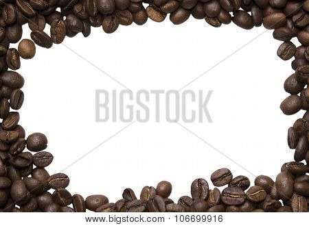 Background Of Photos Spilled Roasted Arabica Coffee Close-up Shot With Empty Space  For Text
