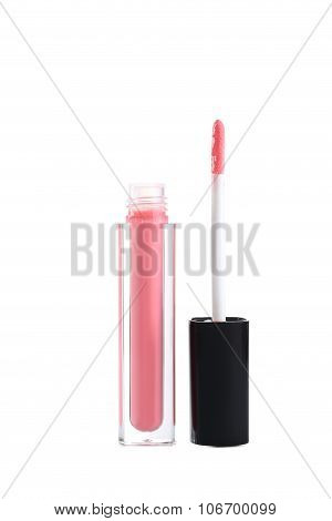 Pink Lip Gloss Isolated On A White