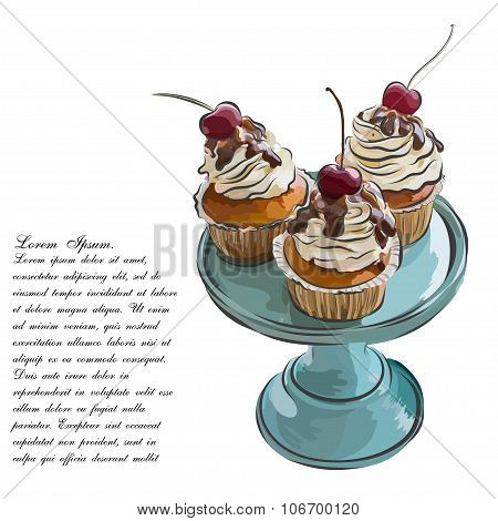 Cute party cupcake on delicate striped background. Cupcake collection.