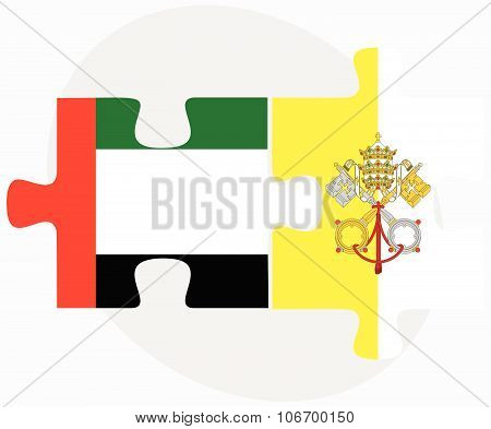 United Arab Emirates And Holy See - Vatican City State Flags