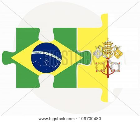 Brazil And Holy See - Vatican City State Flags