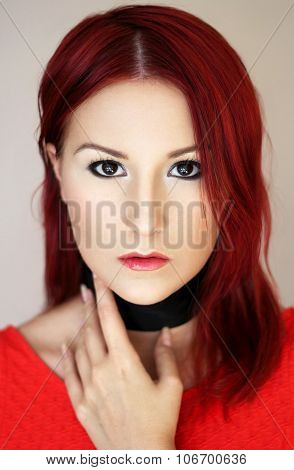 Sexy Redhead Young Woman In Red Top Portrait