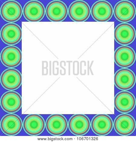 Blue square frame with clear space decorated of green round shapes