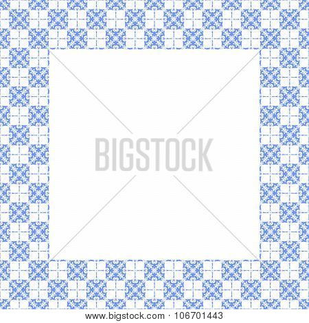 ornamental frame composed of blue white tiles
