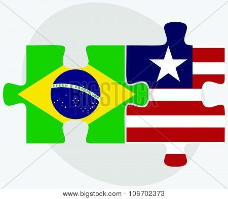 Brazil And Liberia Flags