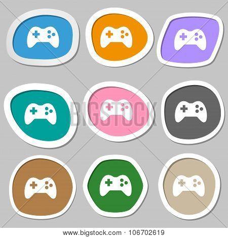 Joystick Sign Icon. Video Game Symbol. Multicolored Paper Stickers. Vector