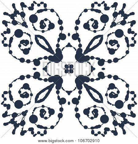 Ink blobs in symmetrical winged pattern