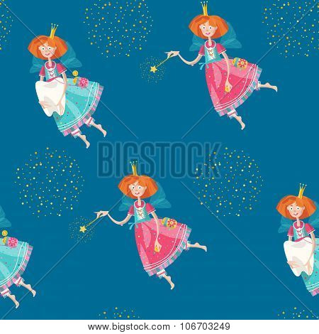 Tooth Fairies Holding Teeth And Magic Wands. Seamless Background Pattern.