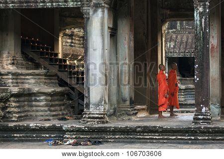 Angkor Wat temple gallery interior,  Cambodia