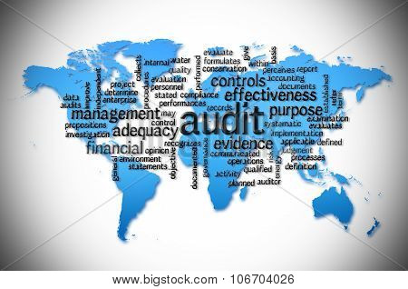 Word Cloud Of  Audit With World Map Background