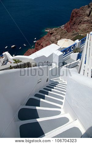 Beautiful Grey And White Steps And Aegean Sea In Oia, Santorini, Greece.