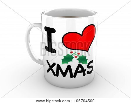 I Love Xmas - Red Heart On White Mug