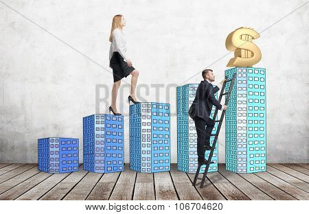 A Woman In Formal Clothes Is Going Up Using A Stairs Which Are Made Of Houses, While A Man Has Found