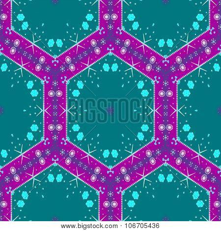 Abstract decorative purple turquoise digital illustration