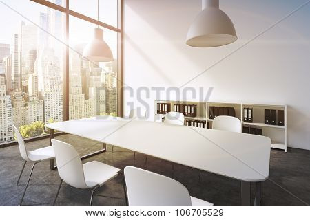 A Conference Room In A Modern Panoramic Office In New York. White Table, White Chairs, Two White Cei
