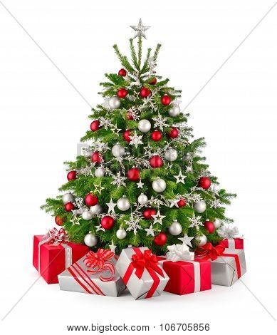Christmas Tree And Gifts, In Red And Silver