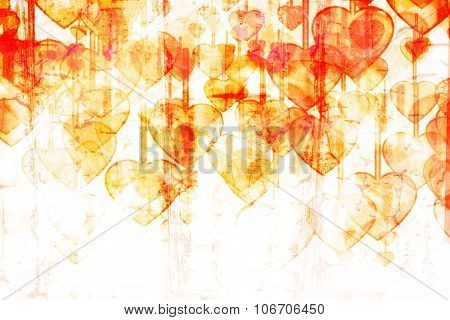 Heart on Grange background, an abstract figure