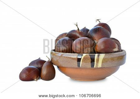 Sweet Chestnuts (castanea Sativa) In Bowl Isolated