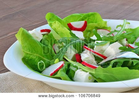 Fresh Leaf Vegetable Salad With Feta Cheese Closeup