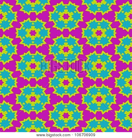 Abstract red yellow blue pink floral geometric regular pattern