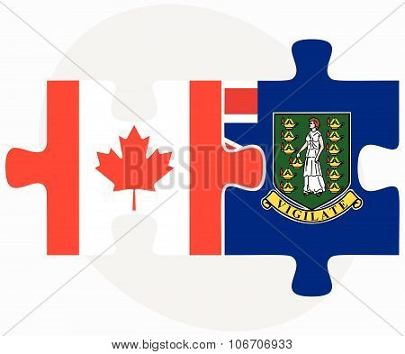 Canada And Virgin Islands (british) Flags