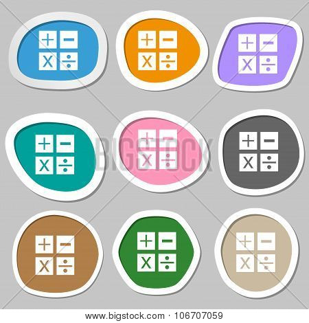 Multiplication, Division, Plus, Minus Icon Math Symbol Mathematics. Multicolored Paper Stickers. Vec