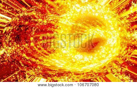 shining circle of stars on a dark, abstract background