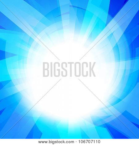sun on a blue background with multicolored beams