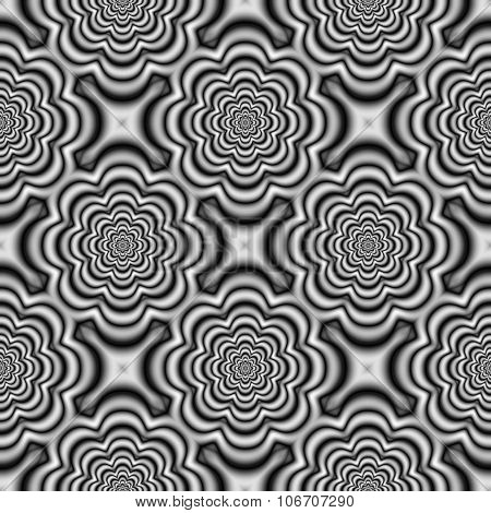 Black white regular floral pattern