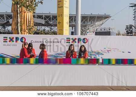 Hostesses At Expo 2015 In Milan, Italy