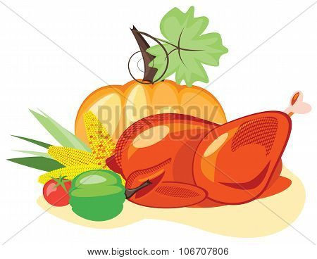 Happy Thanksgiving Day. Roast chicken or Turkey for  holiday table, for Thanksgiving and Christmas